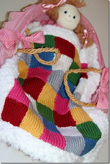 hand knit doll blanket