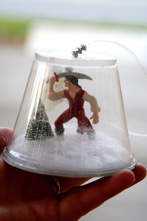 handmade pirate snowglobe ornament