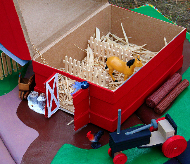 cardboard barnyard