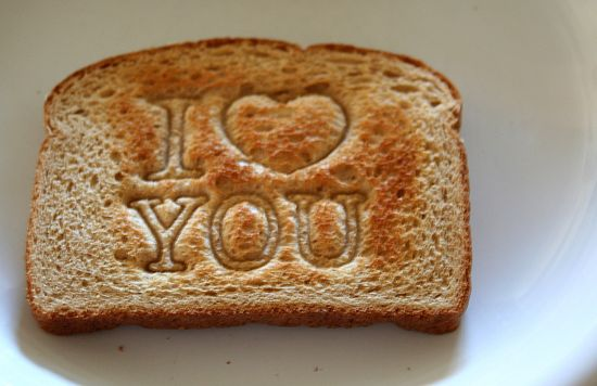 heart stamped toast