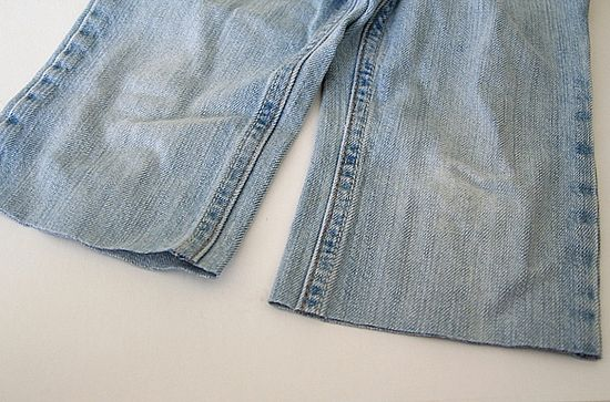turn kids jeans into long shorts