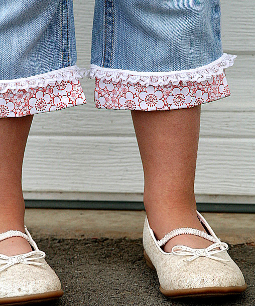 how to add flowers and frills to girls jeans