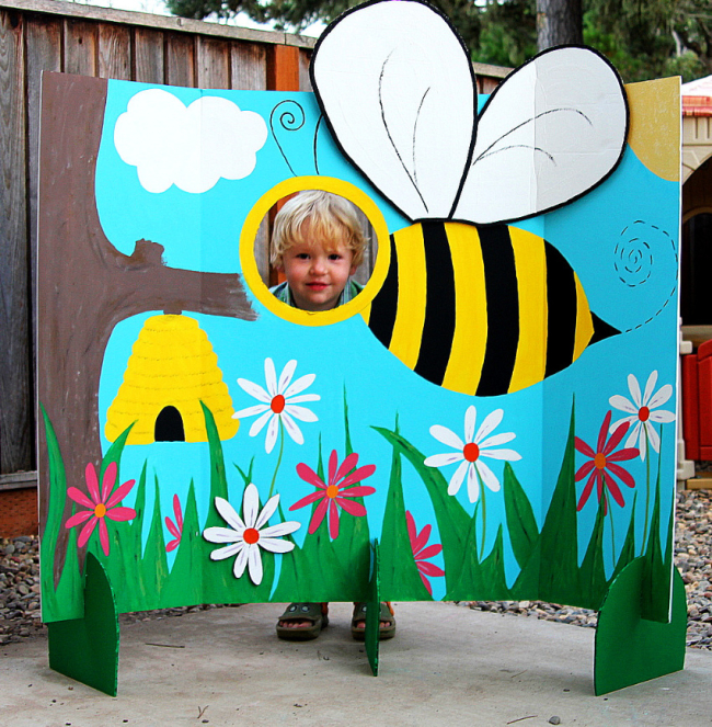 A bumble bee photo op board for parties