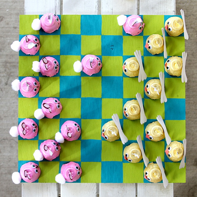 Handmade Easter checkers set for kids made from egg cartons