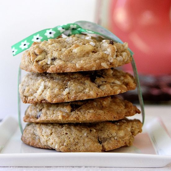 Chocolate chip walnut coconut cookies