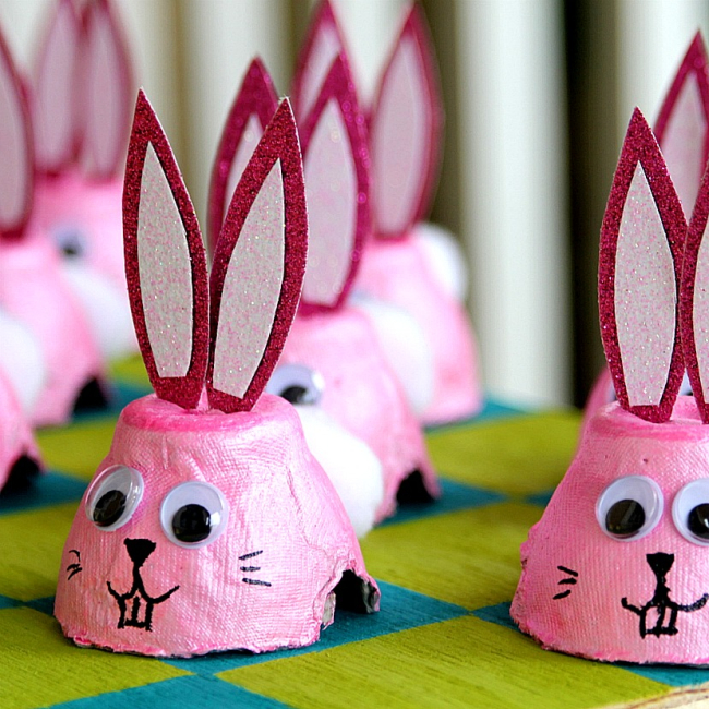 Egg carton bunny for Easter checkers