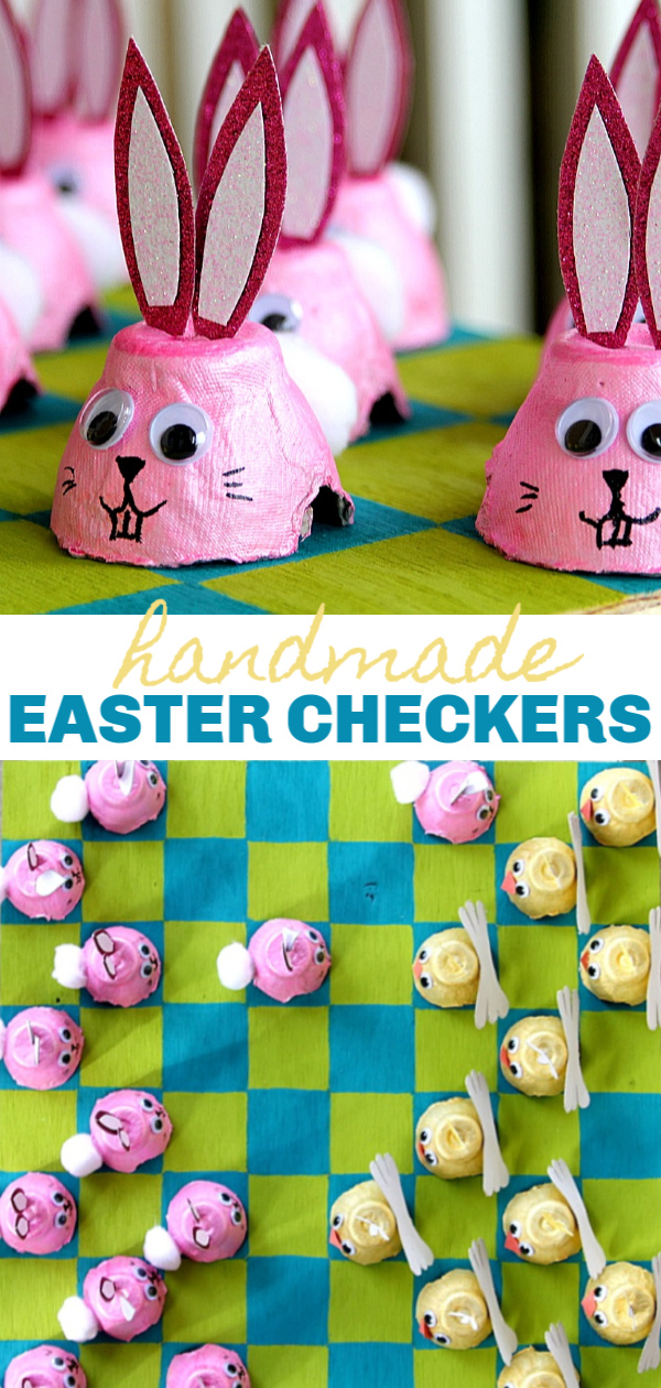 Handmade Easter checkers set using egg cartons