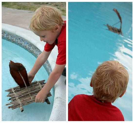 how to make a stick raft
