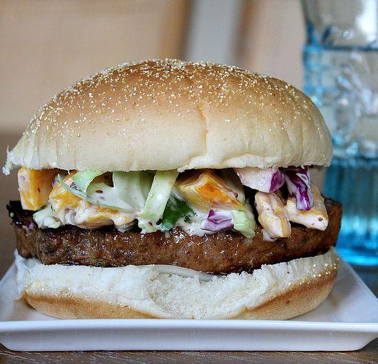 Pork Burger with Mango Coleslaw