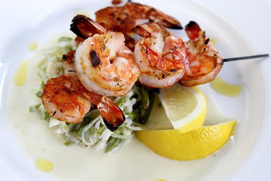 Shrimp with blue cheese and asparagus slaw
