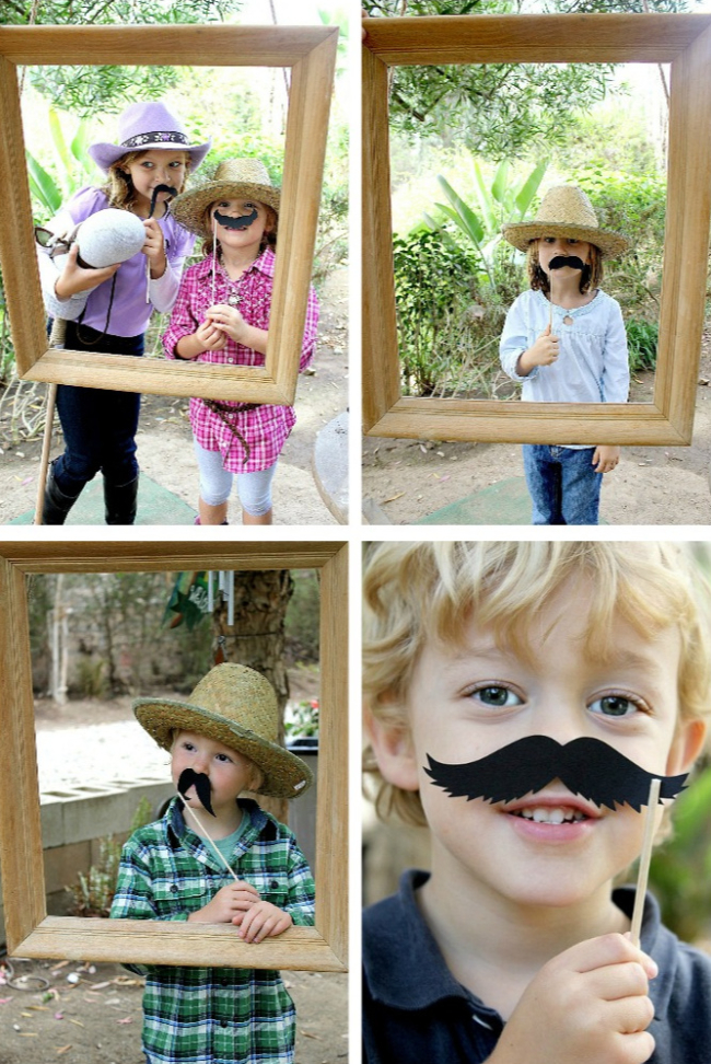 Photo frame prop for a cowboy birthday party