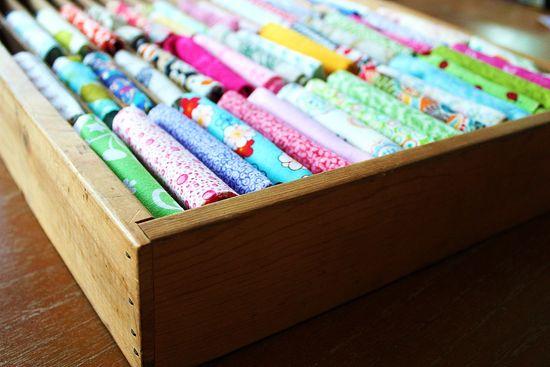 organize fabric scraps