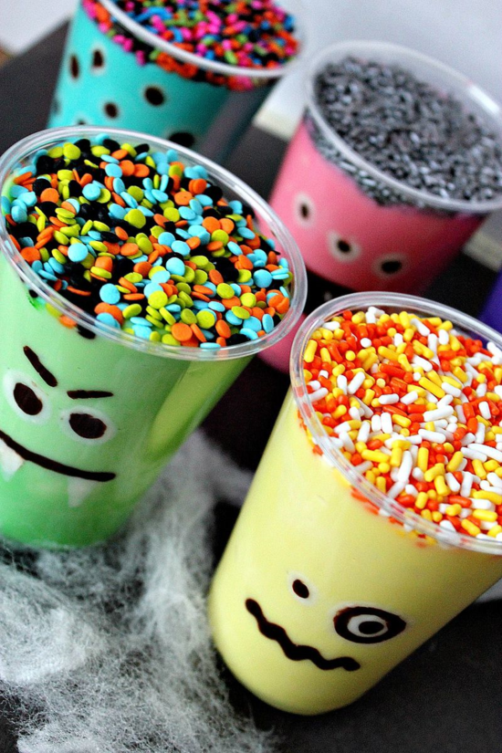 Monster Pudding Cup Halloween Treats