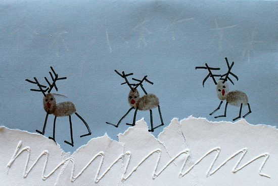 Fingerprint Reindeer Christmas Cards