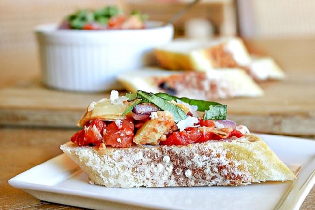 Roasted tomato pancetta bruschetta recipe