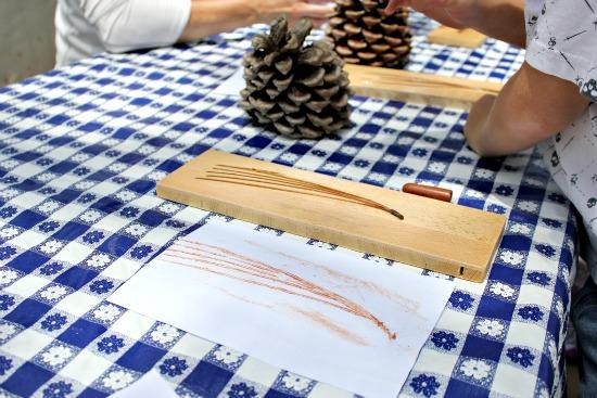 Pine needle rubbing