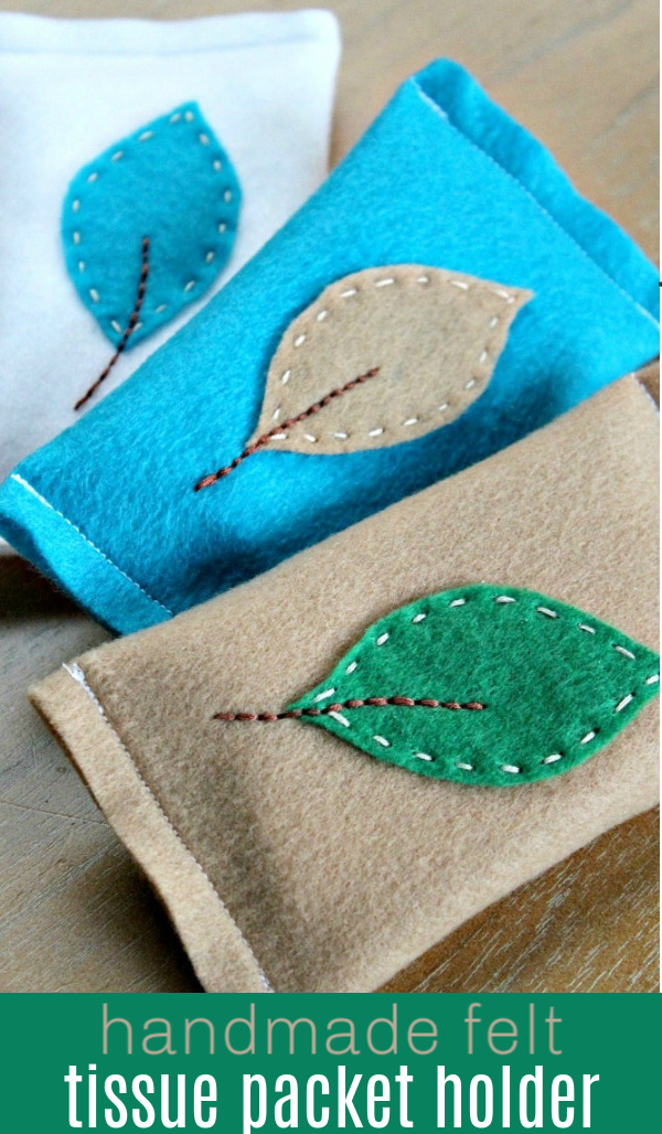 Handmade felt tissue packet holder fall craft