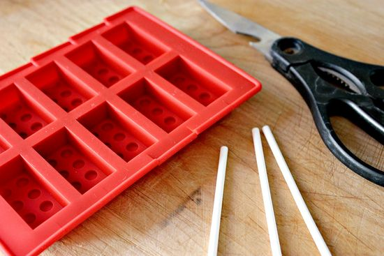 Lego brick candy mold to make lollipops