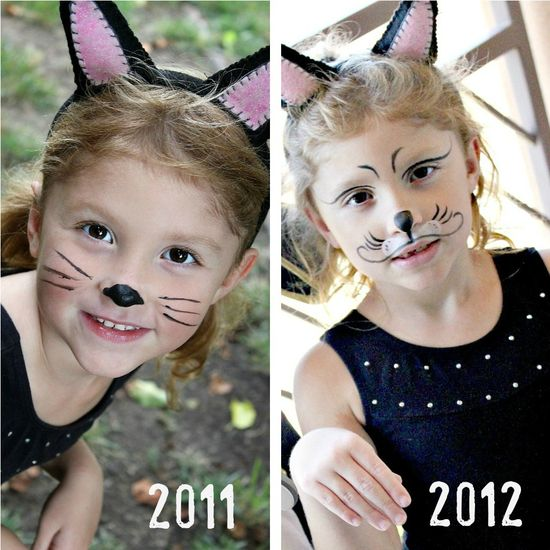 Cat face painting comparison photos