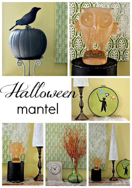 Simple Halloween Mantel