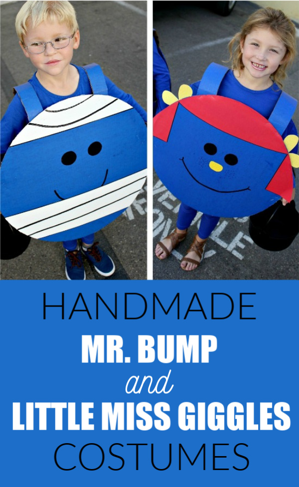 Handmade Mr. Bump and Little Miss Giggles costumes from The Mr Men books