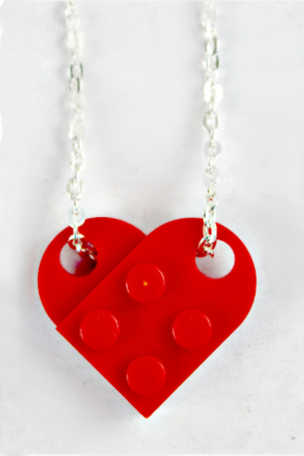 red lego heart necklace with silver chain