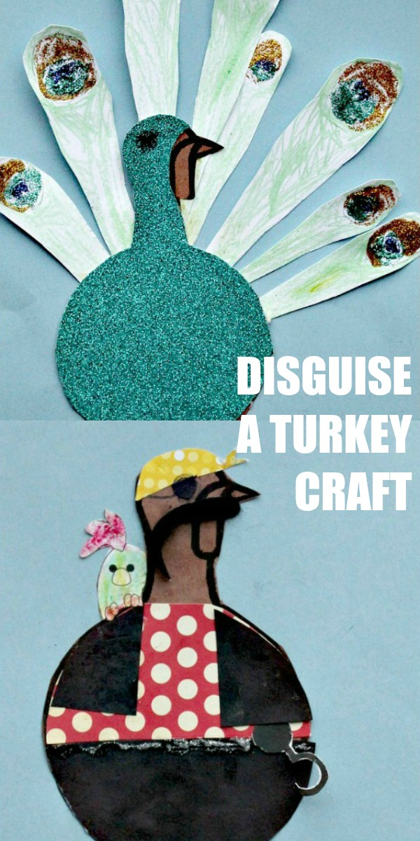 How to disguise a paper turkey Thanksgiving craft for kids
