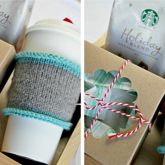 Hand knit coffee cozy and coffee gift pack