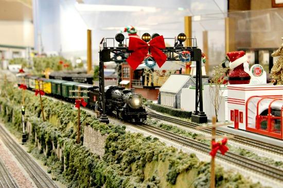 Model railroad Christmas train display