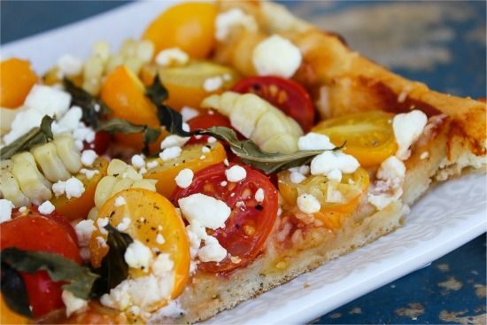 rosemary focaccia with heirloom tomatoes, goat cheese, and corn
