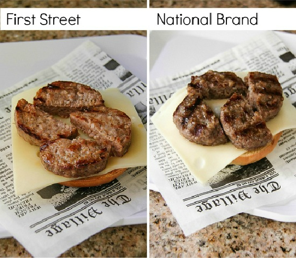 first street sausage and cheese on a bagel compared to national brands