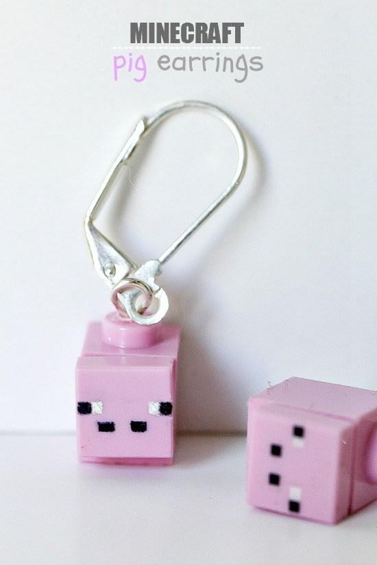 handmade minecraft pig earrings