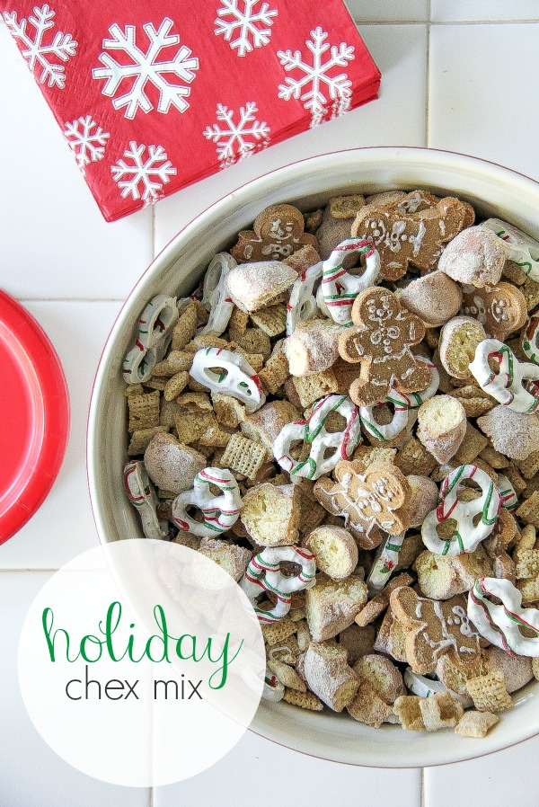 holiday chex mix with gingerbread men cookies and yogurt covered pretzels