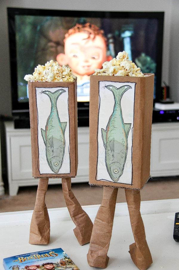 handmade boxtrolls popcorn boxes for a movie night