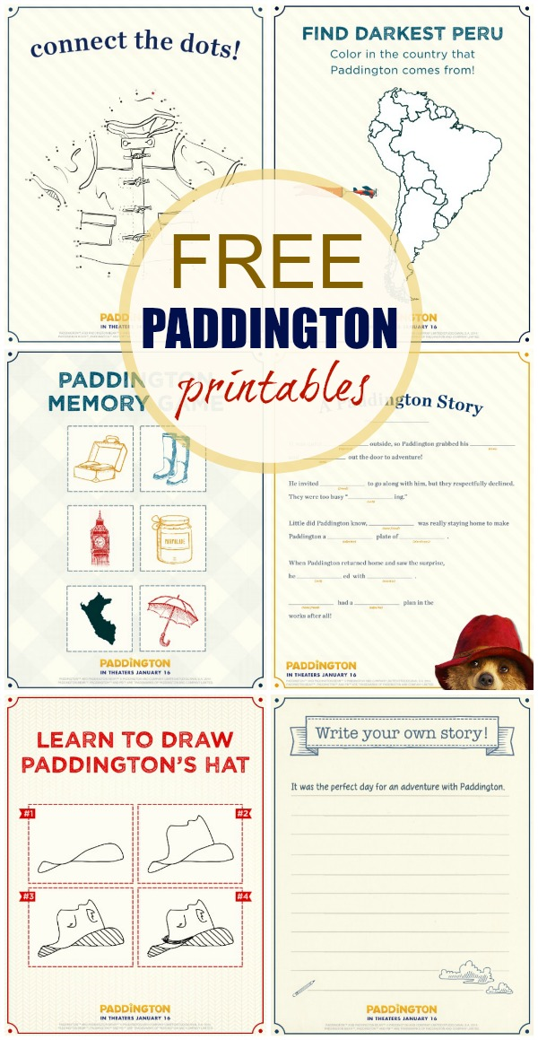 paddington free activity pages
