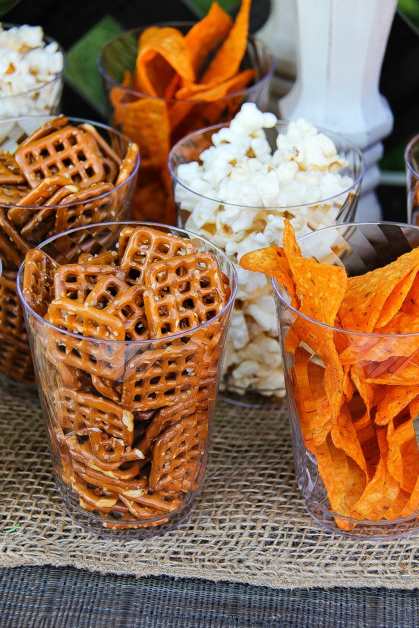 party snacks in clear plastic cups