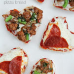 heart-shaped individual size pizzas
