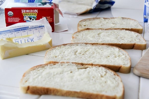 bread buttered to make sandwiches