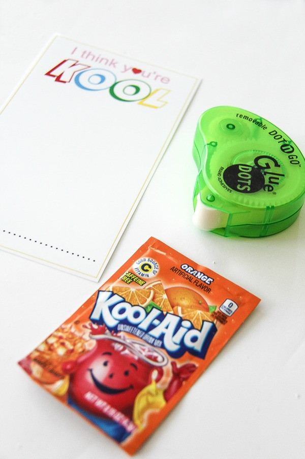 kool aid, printable cards and sticky dots to make valentines day gifts