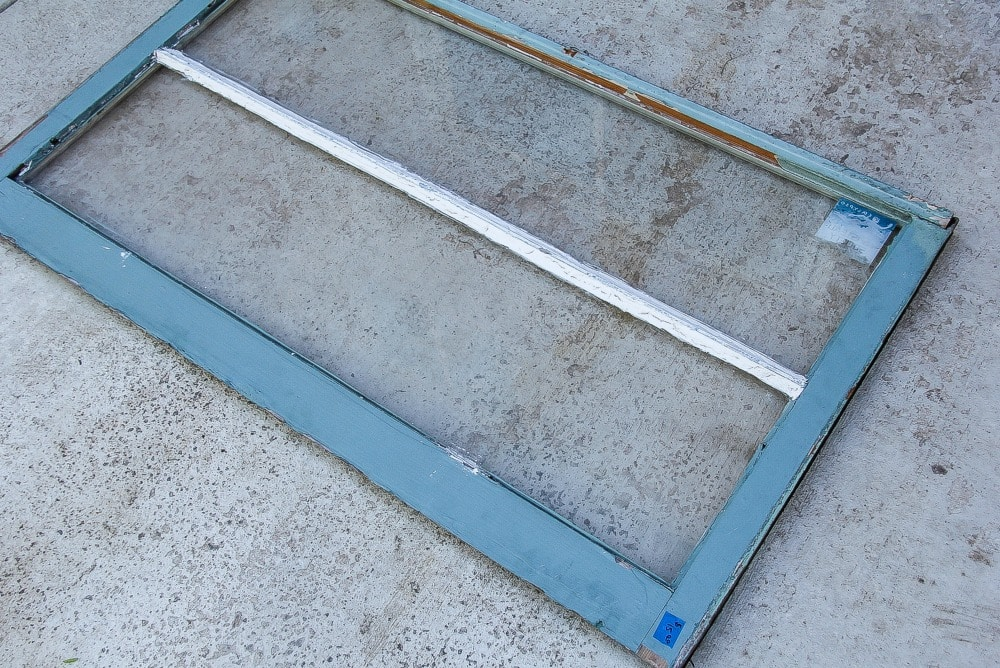 a blue window frame