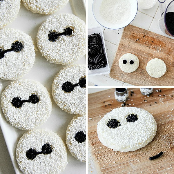 collage with instructions to make Baymax fairy bread