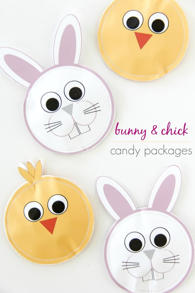 paper bunny and chick sewn packets
