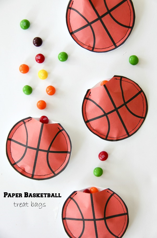 paper basketball pouches filled with candy
