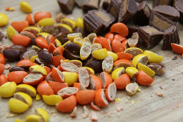 reeses pieces cut in half