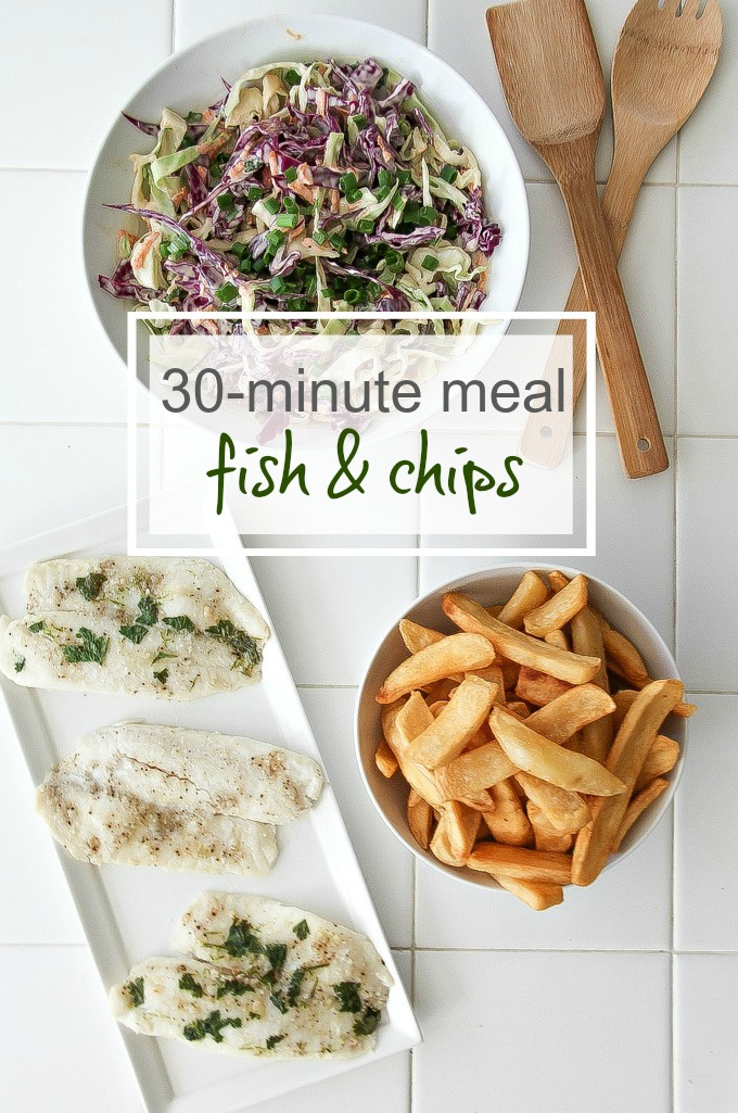 30-Minute Meal: Fish and Chips with Coleslaw | Tonya Staab