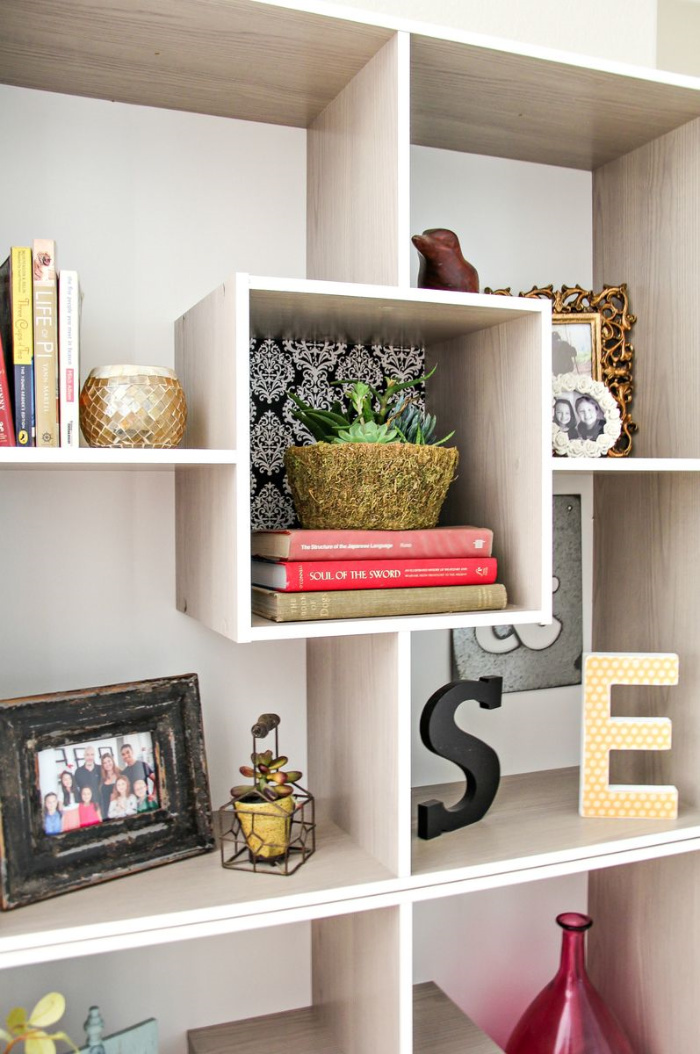styled square shelving in a home