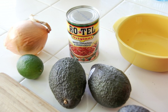 avocado, onion, lime, and a can of Rotel to make gaucamole