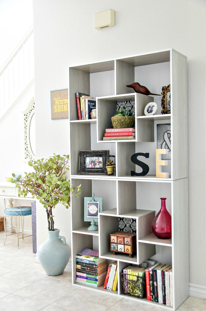 stacked square shelving in a home
