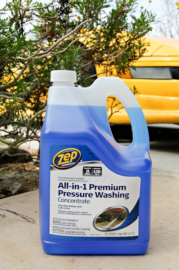 a bottle of Zep pressure washer fluid