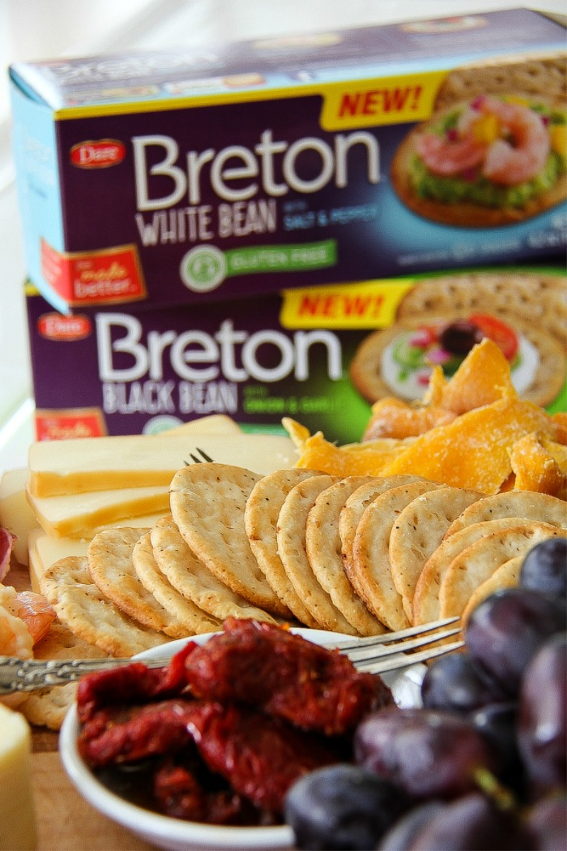 Breton gluten free white crackers with a charcuterie board